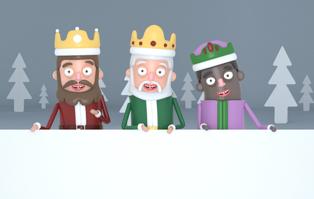 Three magic kings holding a big white placards in a gray forest .. 3d illustration