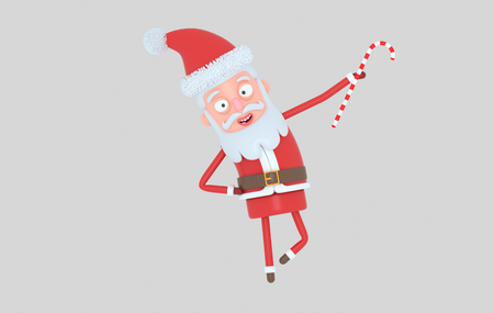 Santa Claus standing and holding a Candy. Isolated .. 3d illustration