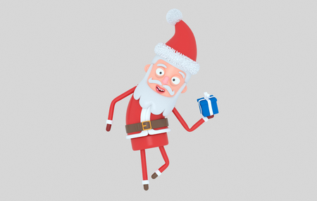 Santa Claus holding a gift. Isolated .. 3d illustration