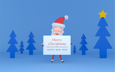 Santa holding a placard with Greetings on a tree blue scene .. 3d illustration