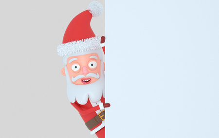 Santa Claus holding a white banner. Isolated. 3d illustration Stock Photo