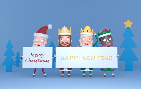 Santa Claus and Tree Magic Kings holding a placard with Greetings. 3d illustration