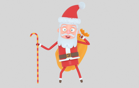 Santa Claus holding a christmas sack. Isolated. 3d illustration