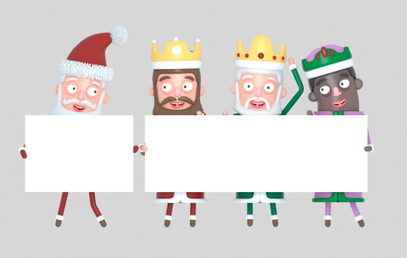 Tree Magic Kings and Santa Claus holding White placards. Isolated .. 3d illustration