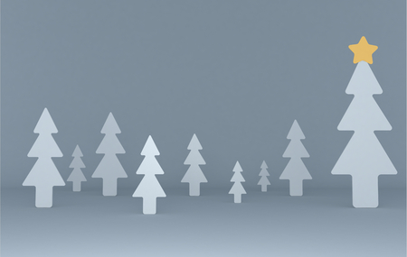 White pines background scene. Set. 3d illustration Stock Photo