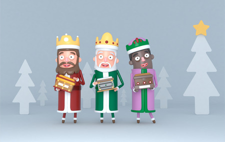Three Magic Kings standing on a gray scene with trees. Isolated .. 3d illustration