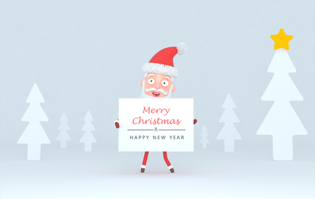 Santa Claus holding a placard with greetings on a white tree .. 3d illustration