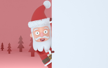 Santa Claus holding a white placards in a red forest .. 3d illustration