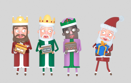 Tree Magic Kings and Santa Claus holding presents. Isolated .. 3d illustration