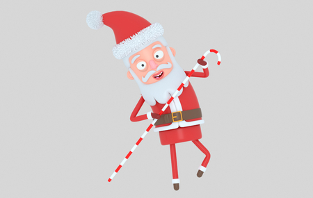 Santa Claus holding a christmas sack. Isolated .. 3d illustration Stock Photo