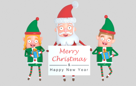 Couple elf and Santa Claus holding a Greetings wardrobe. 3d Illustration.