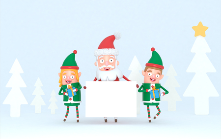 Couple elf and Santa Claus holding a white placard in a forest set. 3d Illustration.