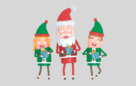 Couple cute elf santa christmas holding gift. 3d illustration. Stock Photo