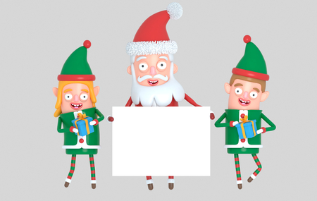 Couple elf and Santa Claus holding a white placard. 3d Illustration.