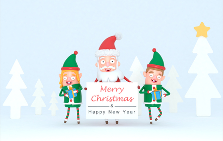 Couple elf and Santa Claus holding a Greetings wardrobe in a forest set. 3d Illustration.