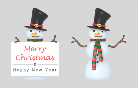 Snowmen holding a Greetings wardrobe. 3d Illustration. Isolated.