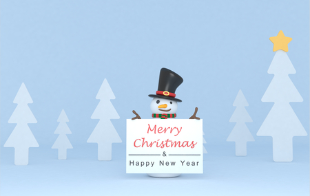 Snowman holding a Greetings wardrobe. 3d Illustration. Isolated. Stock Photo