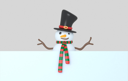 Snowman holding a white banner. 3d Illustration. Isolated. Stock Photo