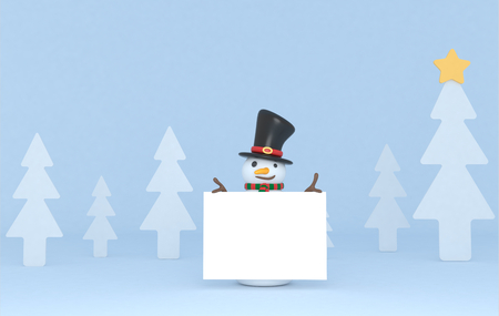 Snowman holding a white placard. 3d Illustration. Isolated.