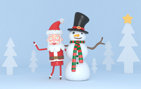 Snowman & Santa in a forest scene. 3d illustration. Isolated.