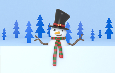 Snowman holding a big white banner. 3d Illustration. Isolated.