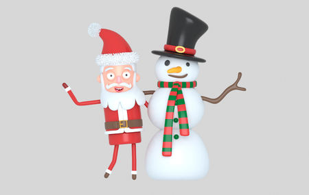Snowman & Santa congratulating Christmas. 3d illustration. Isolated. Stock Photo