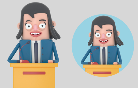 Businesswoman giving a meeting. Isolated .. 3d illustration.