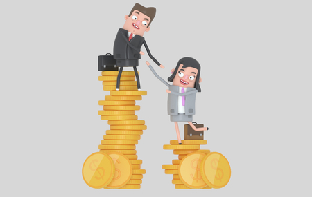 Income inequality concept. Man and woman climbing piles of coins. Isolated .. 3d illustration. Banco de Imagens
