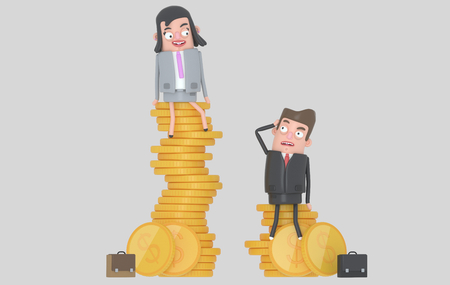 Gender wage difference concept. Business people sitting on top of pile of coins. Isolated. 3d illustration.