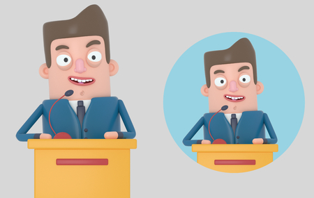Businessman giving a meeting. Isolated .. 3d illustration.