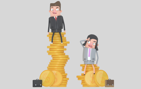 Gender wage difference concept. Man and woman sitting on top of pile of coins. Isolated .. 3d illustration. Banco de Imagens