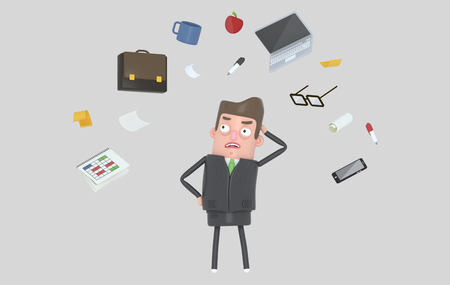 Businessman stressing at office accesories. Isolated. 3d illustration