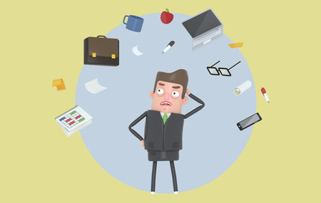 Businessman stressing at office accesories. Background. Isolated. 3d illustration Banco de Imagens