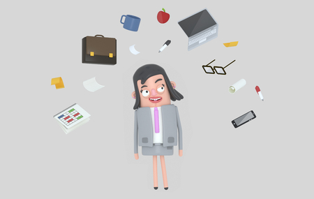 Businesswoman relaxing at office accesories. Isolated. 3d illustration Banco de Imagens