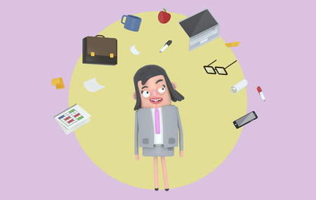 Businesswoman relaxing at office accesories. Background. Isolated. 3d illustration Stock Photo