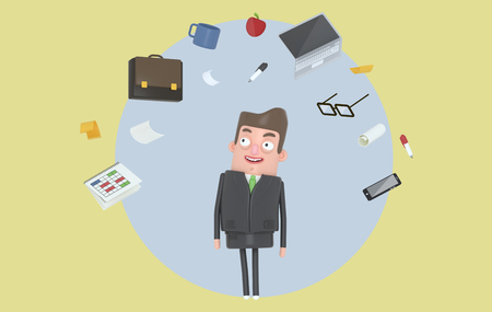 Businessman relaxing looking at office accesories. Background.Isolated. 3d illustration