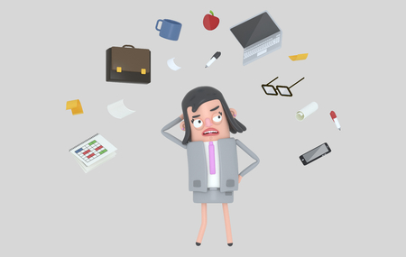 Businesswoman stressing looking at office accesories. Isolated. 3d illustration Stock Photo
