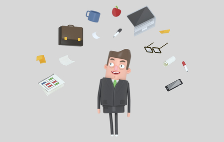 Businessman relaxing looking at office accesories. Isolated. 3d illustration Banco de Imagens