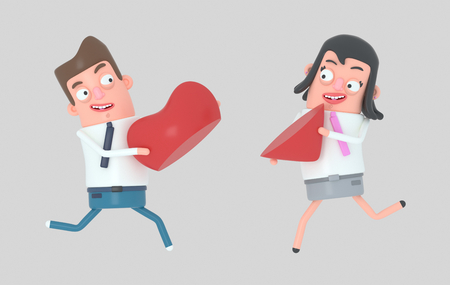 Couple in love running and holding half piece of heart. Isolated