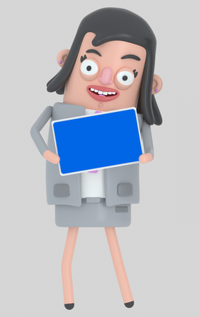 Business woman holding a Tablet with a blue screen. Isolated .. 3d illustration