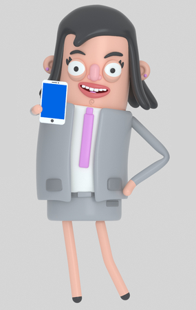 Business woman holding a smartphone with a blue screen. Isolated .. 3d illustration