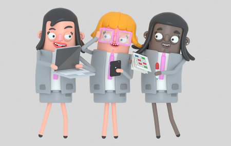 Business woman teamwork working. Isolated .. 3d illustration