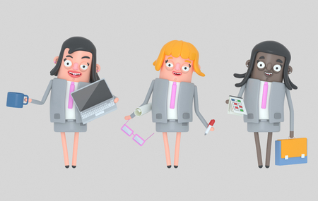 Business woman teamwork standing. Isolated .. 3d illustration