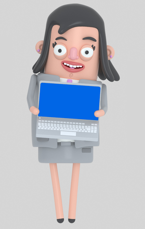 Business woman holding a laptop with a blue screen. Isolated .. 3d illustration
