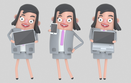 Business woman holding laptop, smarthone and Tablet. Isolated .. 3d illustration