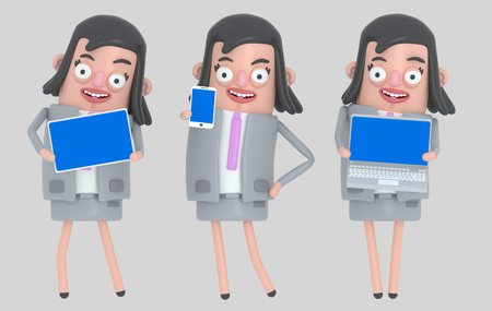 Business woman holding laptop, smarthone and Tablet blue screen. Isolated .. 3d illustration Banco de Imagens