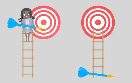 Business woman on ladder holding a blue dart. Dartboard. Isolated Banco de Imagens