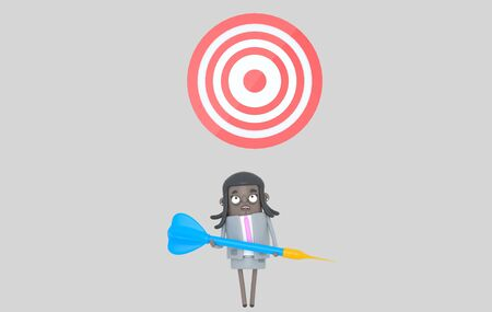 Business black woman holding a big blue dart. Dartboard. Isolated
