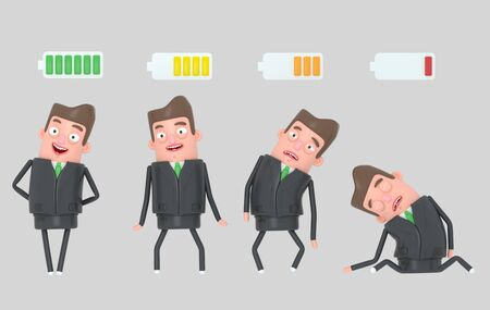 Business man battery. Isolated 3d illustration.