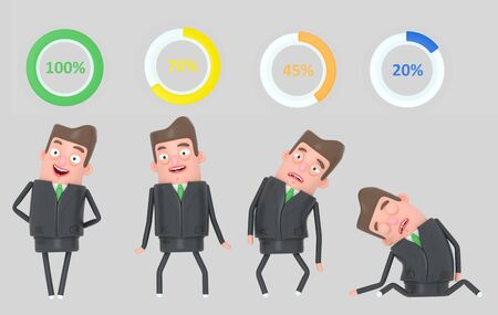 Business man wheel percents. Battery Isolated 3d illustration.